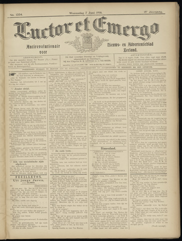 Luctor et Emergo. Antirevolutionair nieuws- en advertentieblad voor Zeeland / Zeeuwsch-Vlaanderen. Orgaan ter verspreiding van de christelijke beginselen in Zeeuwsch-Vlaanderen 1916-06-07