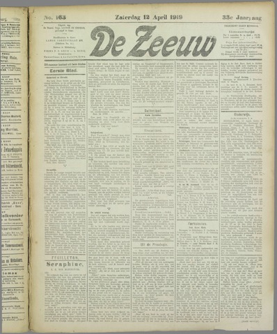 De Zeeuw. Christelijk-historisch nieuwsblad voor Zeeland 1919-04-12