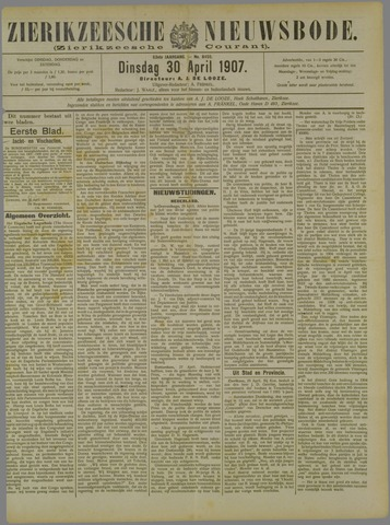 Zierikzeesche Nieuwsbode 1907-04-30