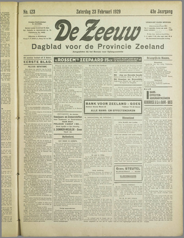 De Zeeuw. Christelijk-historisch nieuwsblad voor Zeeland 1929-02-23