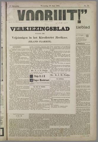 """""""Vooruit!""""Officieel Nieuws- en Advertentieblad voor Overflakkee en Goedereede 1905-06-28"""