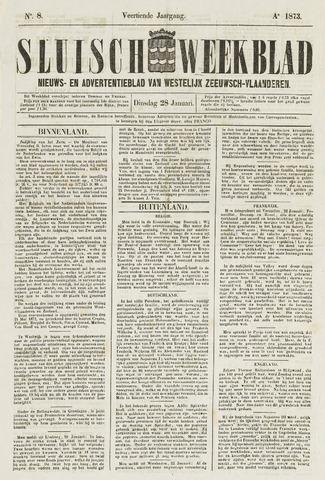 Sluisch Weekblad. Nieuws- en advertentieblad voor Westelijk Zeeuwsch-Vlaanderen 1873-01-28