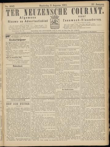 Ter Neuzensche Courant. Algemeen Nieuws- en Advertentieblad voor Zeeuwsch-Vlaanderen / Neuzensche Courant ... (idem) / (Algemeen) nieuws en advertentieblad voor Zeeuwsch-Vlaanderen 1911-08-03