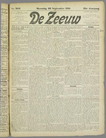 De Zeeuw. Christelijk-historisch nieuwsblad voor Zeeland 1921-09-26