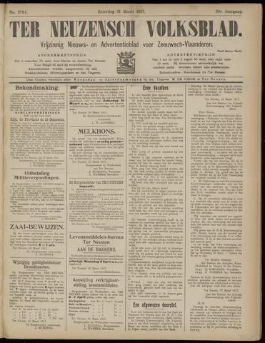 Ter Neuzensch Volksblad. Vrijzinnig nieuws- en advertentieblad voor Zeeuwsch- Vlaanderen / Zeeuwsch Nieuwsblad. Nieuws- en advertentieblad voor Zeeland 1917-03-31