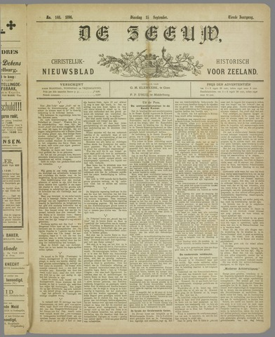 De Zeeuw. Christelijk-historisch nieuwsblad voor Zeeland 1896-09-15