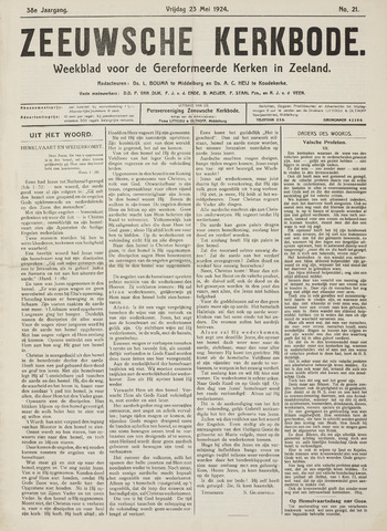Zeeuwsche kerkbode, weekblad gewijd aan de belangen der gereformeerde kerken/ Zeeuwsch kerkblad 1924-05-23
