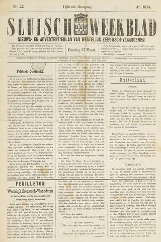 Sluisch Weekblad. Nieuws- en advertentieblad voor Westelijk Zeeuwsch-Vlaanderen 1874-03-17