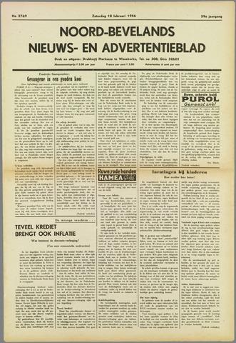 Noord-Bevelands Nieuws- en advertentieblad 1956-02-18