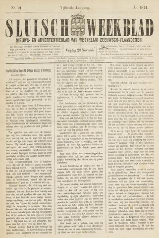 Sluisch Weekblad. Nieuws- en advertentieblad voor Westelijk Zeeuwsch-Vlaanderen 1874-11-20