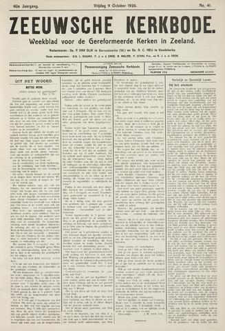 Zeeuwsche kerkbode, weekblad gewijd aan de belangen der gereformeerde kerken/ Zeeuwsch kerkblad 1926-10-09