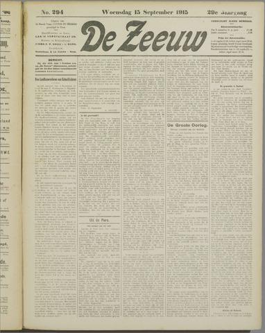 De Zeeuw. Christelijk-historisch nieuwsblad voor Zeeland 1915-09-15