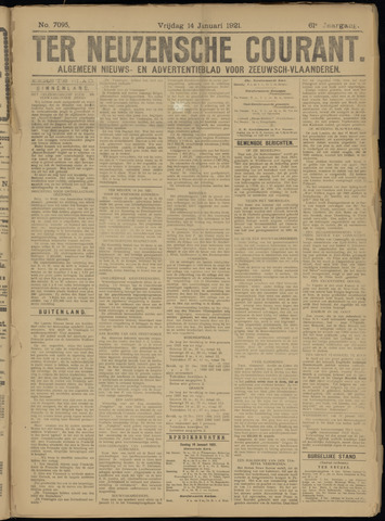 Ter Neuzensche Courant. Algemeen Nieuws- en Advertentieblad voor Zeeuwsch-Vlaanderen / Neuzensche Courant ... (idem) / (Algemeen) nieuws en advertentieblad voor Zeeuwsch-Vlaanderen 1921-01-14