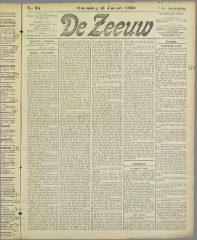 De Zeeuw. Christelijk-historisch nieuwsblad voor Zeeland 1920-01-21