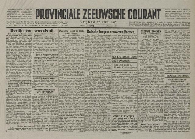 Provinciale Zeeuwse Courant 1945-04-27