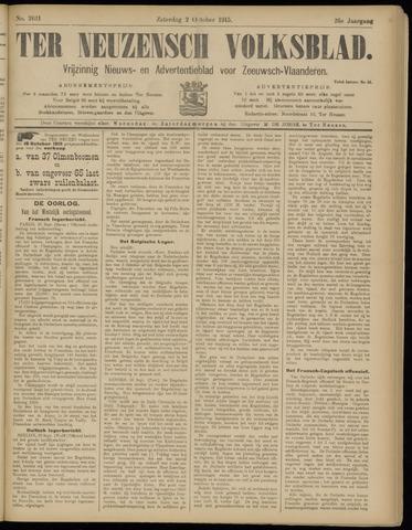 Ter Neuzensch Volksblad. Vrijzinnig nieuws- en advertentieblad voor Zeeuwsch- Vlaanderen / Zeeuwsch Nieuwsblad. Nieuws- en advertentieblad voor Zeeland 1915-10-02