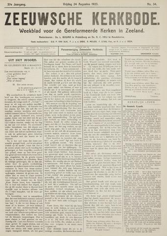 Zeeuwsche kerkbode, weekblad gewijd aan de belangen der gereformeerde kerken/ Zeeuwsch kerkblad 1923-08-24