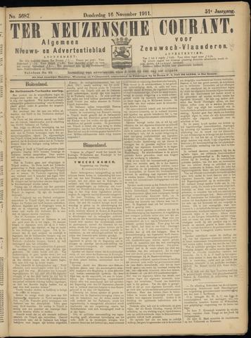 Ter Neuzensche Courant. Algemeen Nieuws- en Advertentieblad voor Zeeuwsch-Vlaanderen / Neuzensche Courant ... (idem) / (Algemeen) nieuws en advertentieblad voor Zeeuwsch-Vlaanderen 1911-11-16