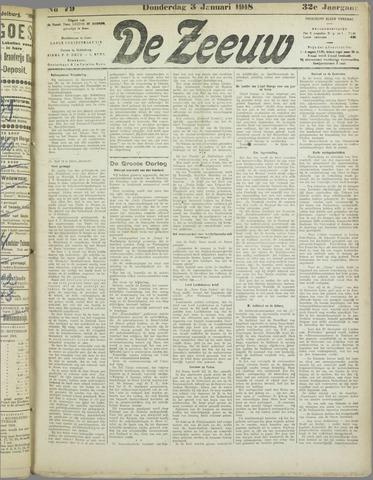 De Zeeuw. Christelijk-historisch nieuwsblad voor Zeeland 1918-01-03