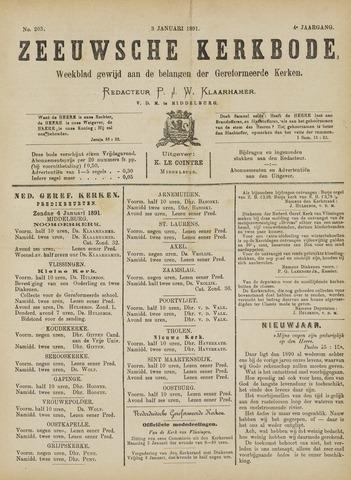 Zeeuwsche kerkbode, weekblad gewijd aan de belangen der gereformeerde kerken/ Zeeuwsch kerkblad 1891-01-03