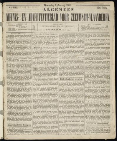 Ter Neuzensche Courant. Algemeen Nieuws- en Advertentieblad voor Zeeuwsch-Vlaanderen / Neuzensche Courant ... (idem) / (Algemeen) nieuws en advertentieblad voor Zeeuwsch-Vlaanderen 1872-01-03