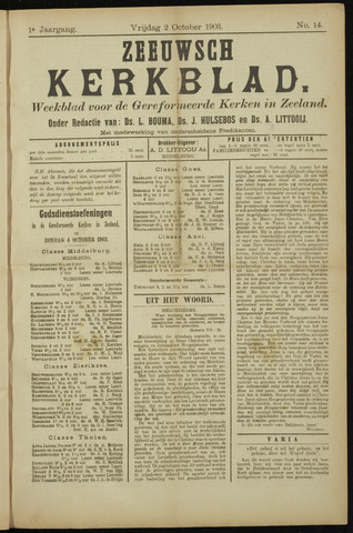 Zeeuwsche kerkbode, weekblad gewijd aan de belangen der gereformeerde kerken/ Zeeuwsch kerkblad 1903-10-02