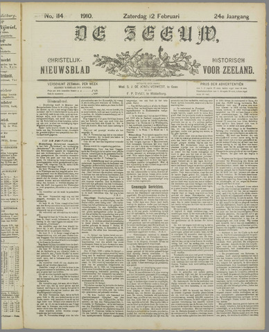 De Zeeuw. Christelijk-historisch nieuwsblad voor Zeeland 1910-02-12