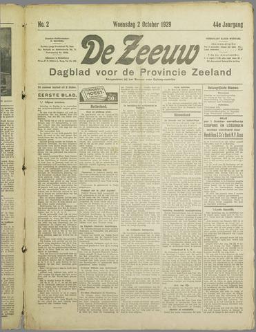 De Zeeuw. Christelijk-historisch nieuwsblad voor Zeeland 1929-10-02