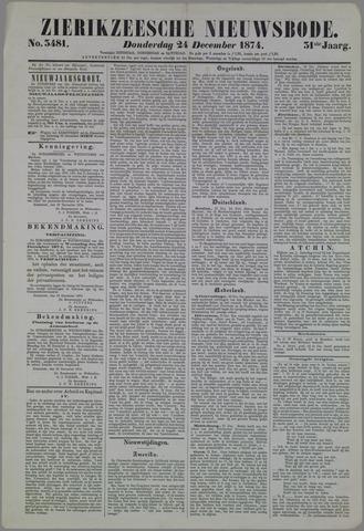 Zierikzeesche Nieuwsbode 1874-12-24