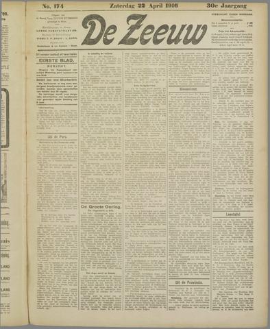 De Zeeuw. Christelijk-historisch nieuwsblad voor Zeeland 1916-04-22