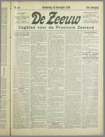 De Zeeuw. Christelijk-historisch nieuwsblad voor Zeeland 1930-11-20