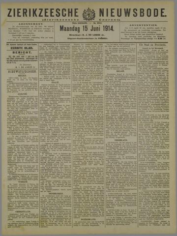 Zierikzeesche Nieuwsbode 1914-06-15