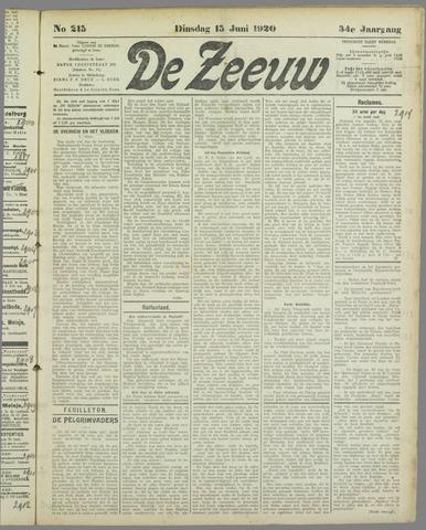 De Zeeuw. Christelijk-historisch nieuwsblad voor Zeeland 1920-06-15