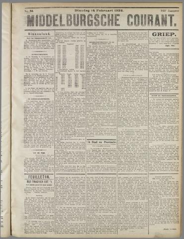 Middelburgsche Courant 1922-02-14