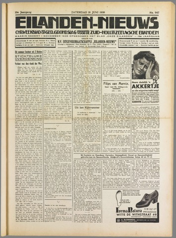 Eilanden-nieuws. Christelijk streekblad op gereformeerde grondslag 1938-06-18