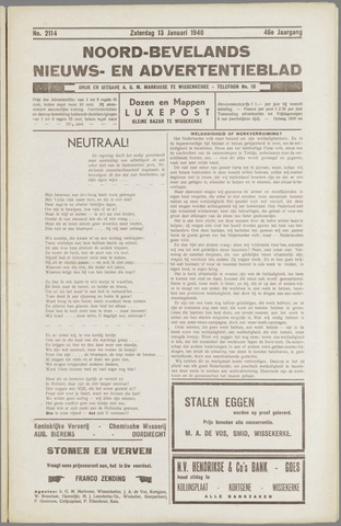 Noord-Bevelands Nieuws- en advertentieblad 1940-01-13