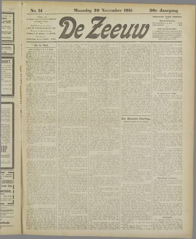 De Zeeuw. Christelijk-historisch nieuwsblad voor Zeeland 1915-11-29