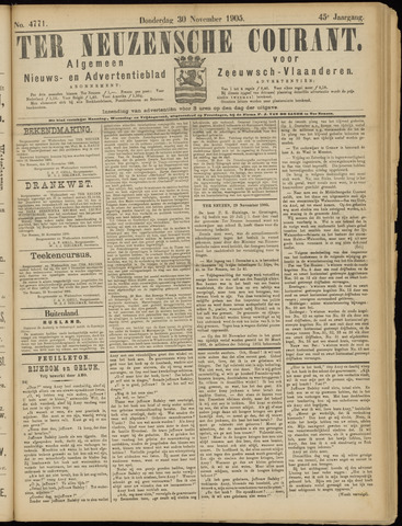 Ter Neuzensche Courant. Algemeen Nieuws- en Advertentieblad voor Zeeuwsch-Vlaanderen / Neuzensche Courant ... (idem) / (Algemeen) nieuws en advertentieblad voor Zeeuwsch-Vlaanderen 1905-11-30