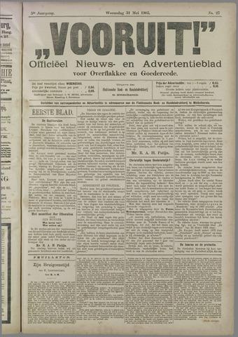 """""""Vooruit!""""Officieel Nieuws- en Advertentieblad voor Overflakkee en Goedereede 1905-05-31"""