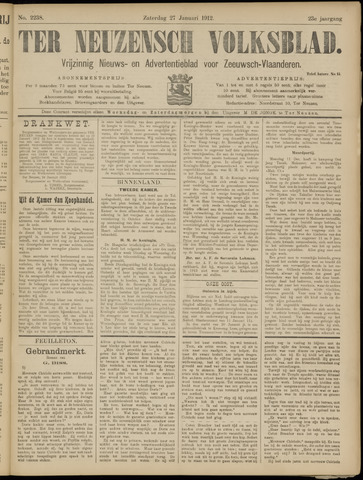 Ter Neuzensch Volksblad. Vrijzinnig nieuws- en advertentieblad voor Zeeuwsch- Vlaanderen / Zeeuwsch Nieuwsblad. Nieuws- en advertentieblad voor Zeeland 1912-01-27