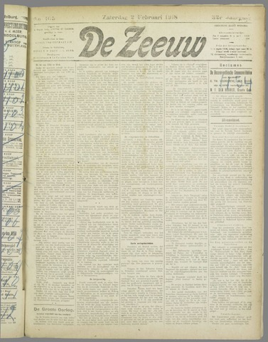 De Zeeuw. Christelijk-historisch nieuwsblad voor Zeeland 1918-02-02