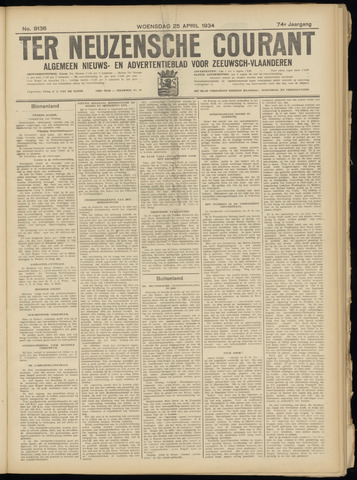 Ter Neuzensche Courant. Algemeen Nieuws- en Advertentieblad voor Zeeuwsch-Vlaanderen / Neuzensche Courant ... (idem) / (Algemeen) nieuws en advertentieblad voor Zeeuwsch-Vlaanderen 1934-04-25