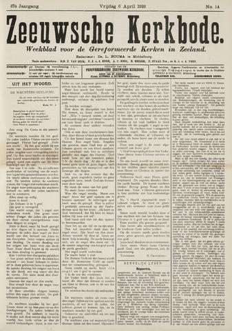 Zeeuwsche kerkbode, weekblad gewijd aan de belangen der gereformeerde kerken/ Zeeuwsch kerkblad 1923-04-06