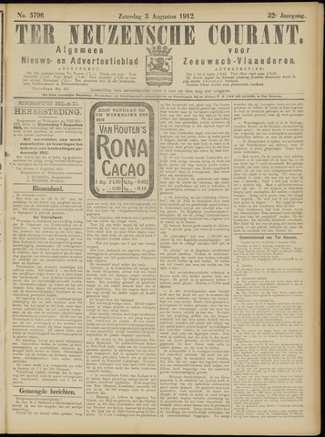 Ter Neuzensche Courant. Algemeen Nieuws- en Advertentieblad voor Zeeuwsch-Vlaanderen / Neuzensche Courant ... (idem) / (Algemeen) nieuws en advertentieblad voor Zeeuwsch-Vlaanderen 1912-08-03