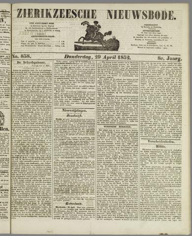 Zierikzeesche Nieuwsbode 1852-04-29