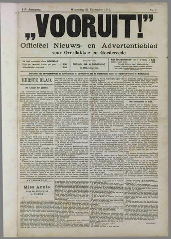 """""""Vooruit!""""Officieel Nieuws- en Advertentieblad voor Overflakkee en Goedereede 1910"""