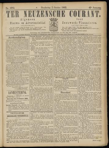 Ter Neuzensche Courant. Algemeen Nieuws- en Advertentieblad voor Zeeuwsch-Vlaanderen / Neuzensche Courant ... (idem) / (Algemeen) nieuws en advertentieblad voor Zeeuwsch-Vlaanderen 1902-10-02