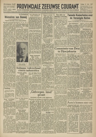 Provinciale Zeeuwse Courant 1947-10-31