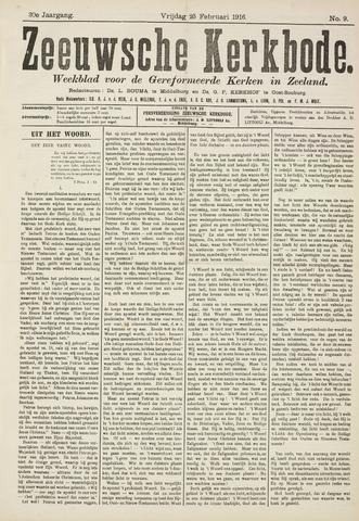Zeeuwsche kerkbode, weekblad gewijd aan de belangen der gereformeerde kerken/ Zeeuwsch kerkblad 1916-02-25