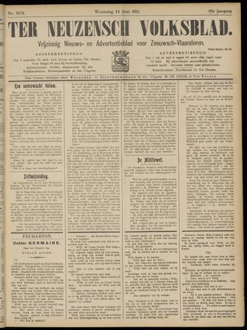 Ter Neuzensch Volksblad. Vrijzinnig nieuws- en advertentieblad voor Zeeuwsch- Vlaanderen / Zeeuwsch Nieuwsblad. Nieuws- en advertentieblad voor Zeeland 1911-06-14